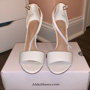 NWOT Aldo White Open Toe Heels